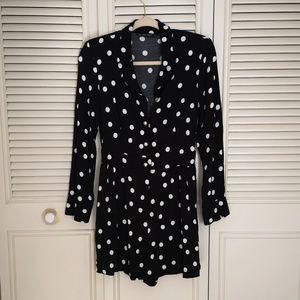 Zara Black Polka Dot Pear Romper Jumpsuit M